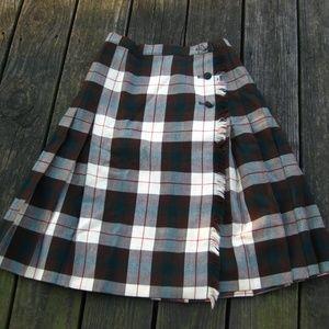 VTG Hudsons Bay Brown Plaid Wool Short Kilt Skirt